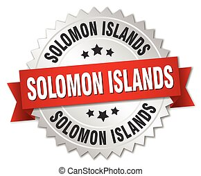 Solomon Islands round silver badge with red ribbon