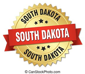 South Dakota round golden badge with red ribbon