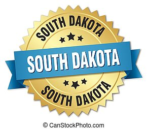 South Dakota round golden badge with blue ribbon