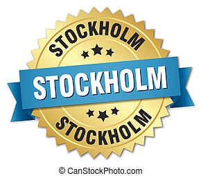 Stockholm round golden badge with blue ribbon