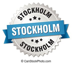 Stockholm round silver badge with blue ribbon