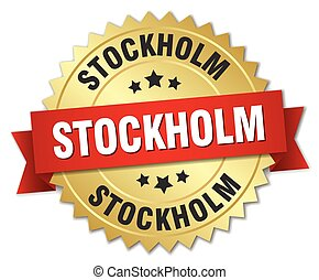 Stockholm round golden badge with red ribbon