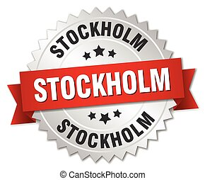 Stockholm round silver badge with red ribbon