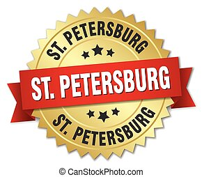 St Petersburg round golden badge with red ribbon