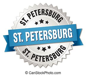 St Petersburg round silver badge with blue ribbon