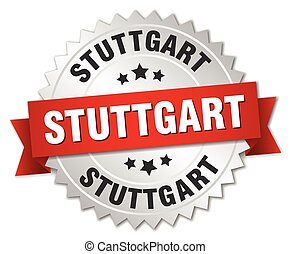Stuttgart round silver badge with red ribbon