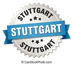 Stuttgart round silver badge with blue ribbon