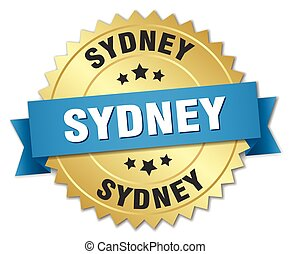 Sydney round golden badge with blue ribbon
