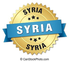 Syria round golden badge with blue ribbon