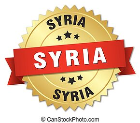 Syria round golden badge with red ribbon