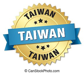 Taiwan round golden badge with blue ribbon