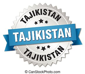 Tajikistan round silver badge with blue ribbon