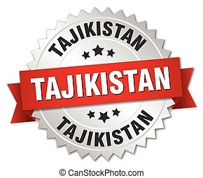 Tajikistan round silver badge with red ribbon