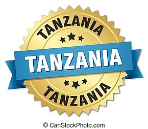 Tanzania round golden badge with blue ribbon
