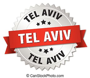 Tel Aviv  round silver badge with red ribbon