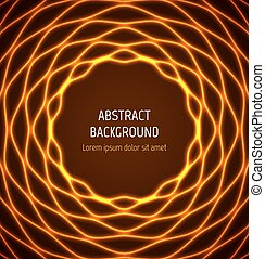 Abstract orange circle wavy border background with light...