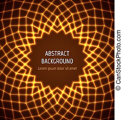 Abstract orange circle polygonal border background with...