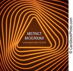 Abstract orange triangle border background with light effects