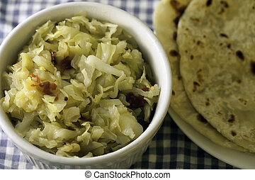 Traditional Indian Fried Cabbage and Roti