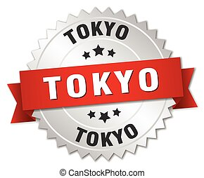 Tokyo round silver badge with red ribbon