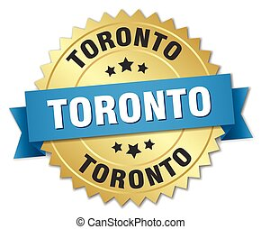 Toronto round golden badge with blue ribbon