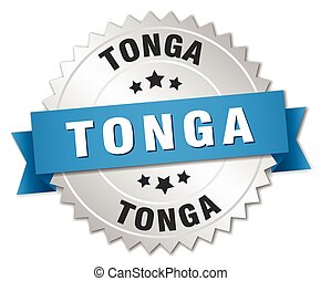 Tonga round silver badge with blue ribbon