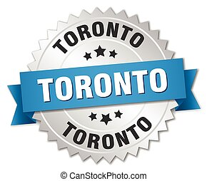 Toronto round silver badge with blue ribbon