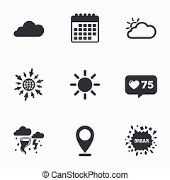 Weather icons Cloud and sun Storm symbol - Calendar, like...