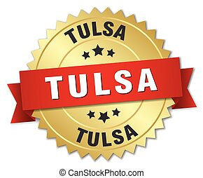Tulsa round golden badge with red ribbon