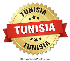 Tunisia round golden badge with red ribbon