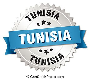 Tunisia round silver badge with blue ribbon