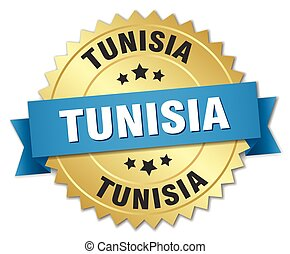 Tunisia round golden badge with blue ribbon