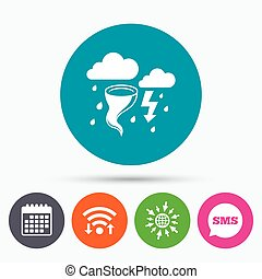 Storm bad weather sign icon. Gale hurricane. - Wifi, Sms and...