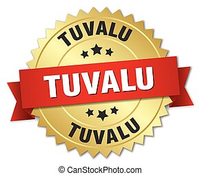 Tuvalu round golden badge with red ribbon