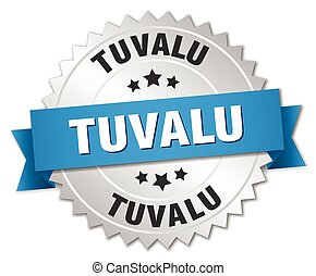 Tuvalu round silver badge with blue ribbon