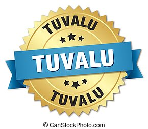 Tuvalu round golden badge with blue ribbon
