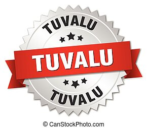 Tuvalu round silver badge with red ribbon - Tuvalu round...