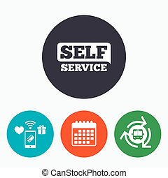Self service sign icon. Maintenance button. Mobile payments,...
