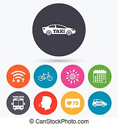 Public transport icons Free bus, bicycle signs - Wifi, like...