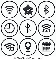Wifi and Bluetooth icon Wireless mobile network - Clock,...