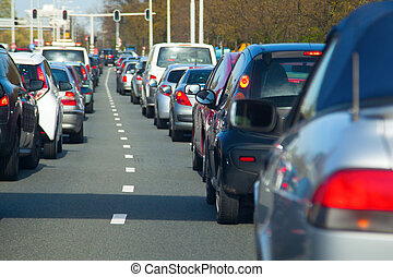 traffic jam - rows of cars in a traffic jam with small depth...