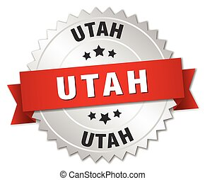 Utah round silver badge with red ribbon