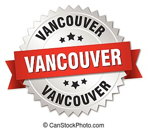 Vancouver round silver badge with red ribbon