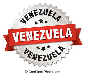 Venezuela round silver badge with red ribbon