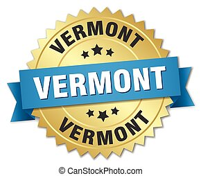 Vermont round golden badge with blue ribbon