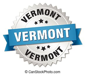 Vermont round silver badge with blue ribbon