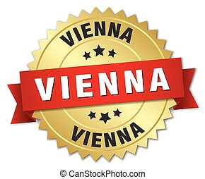 Vienna round golden badge with red ribbon