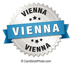 Vienna round silver badge with blue ribbon