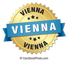 Vienna round golden badge with blue ribbon