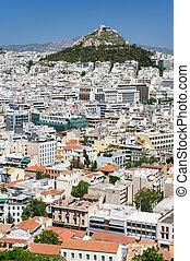 Cityscape of Athens, Greece with Lycabettus Hill at...